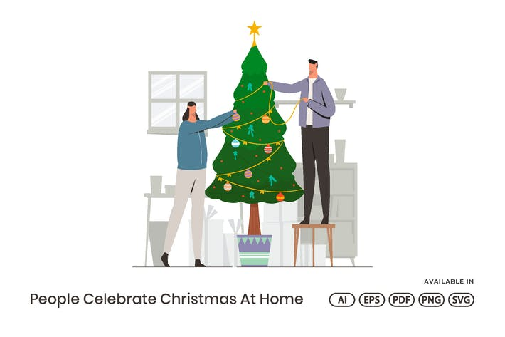 Thumbnail for People Celebrate Christmas At Home