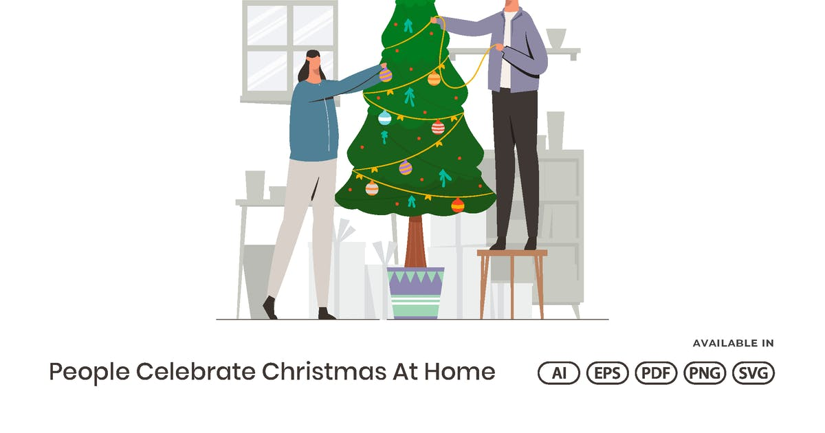 Download People Celebrate Christmas At Home by visuelcolonie
