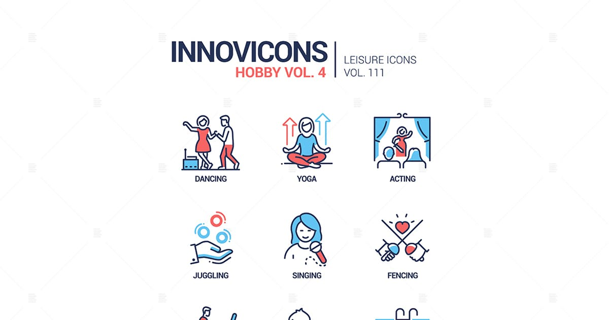 Download Hobby and activities - line design style icons set by BoykoPictures