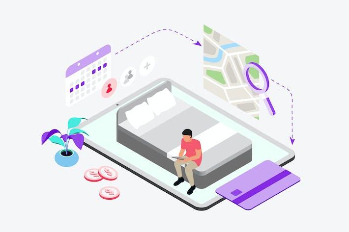 Réservation Hôtel par Digital Wallet Isométrique