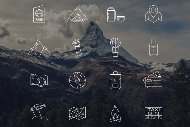 Travel Line Icons / Camping Equipment Design Set