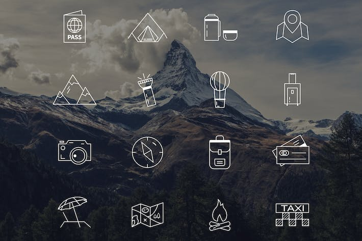 Thumbnail for Travel Line Icons & Camping Equipment Design Set