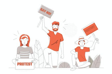 a Group of People Demonstrating - Illustration