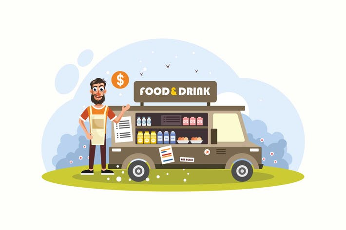 Thumbnail for Food and Beverage Trucks Vector Illustration