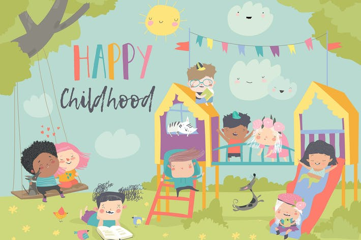 Thumbnail for Children playing at playgroung. Vector illustratio
