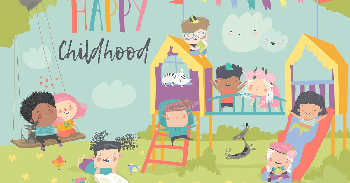 Download Children playing at playgroung. Vector illustratio by masastarus