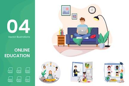Ilustraciones de educación en línea
