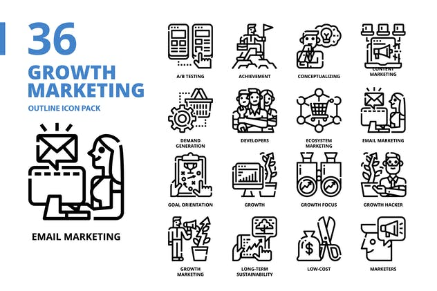 Growth Marketing Outline Style Icon Pack