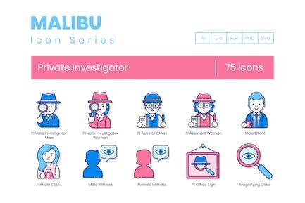 75 Private Investigator Line Icons
