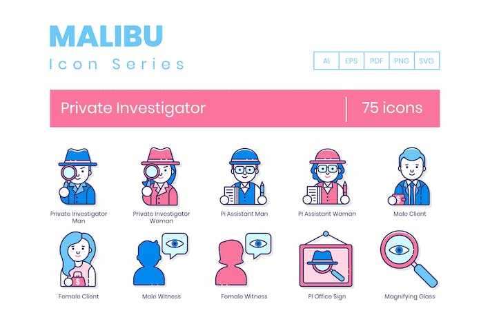 75 Private Investigator Line Icons