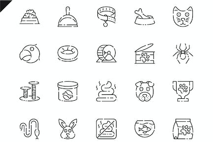 Simple Set Pen and Animal Line Icons