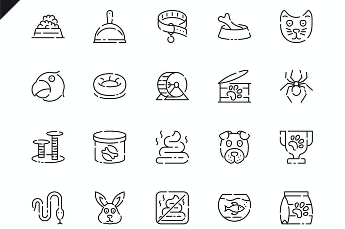Cover Image For Simple Set Pen and Animal Line Icons