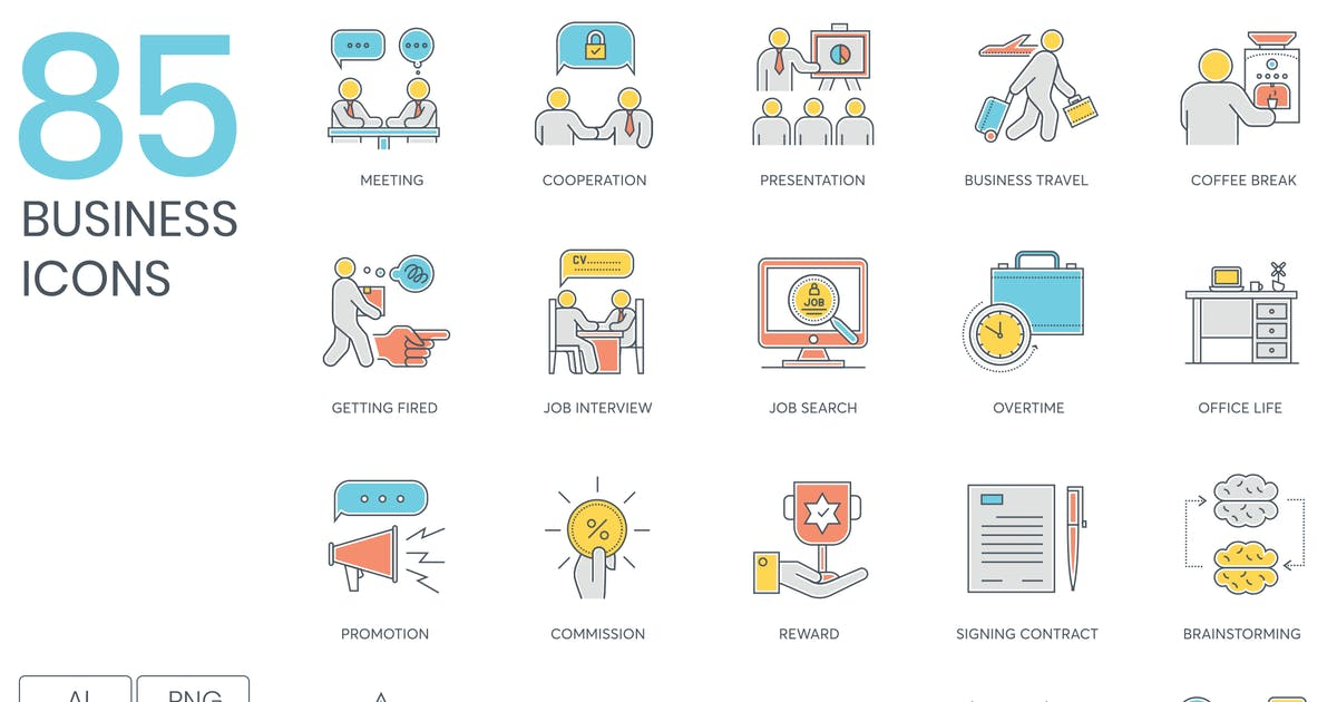 Download 85 Business Icons by Krafted