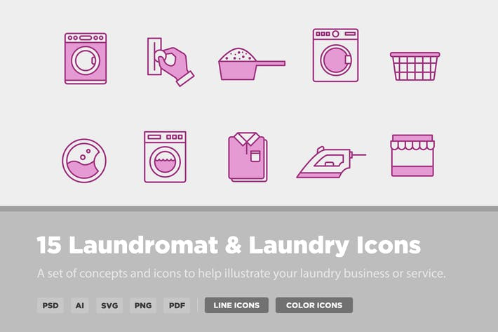Cover Image For 15 Laundry & Laundromat Icons