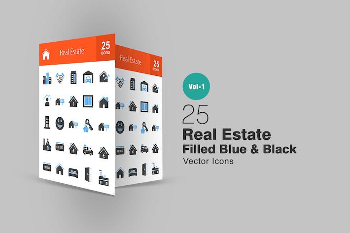 Thumbnail for 25 Real Estate Blue & Black Icons