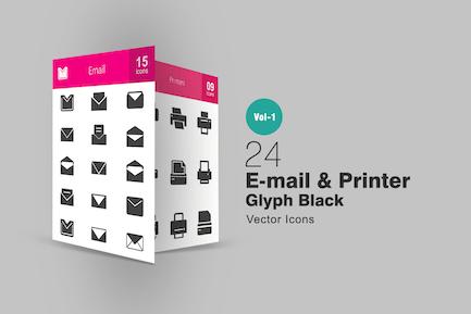 24 Íconos de glifo de Correo electrónico e impresora