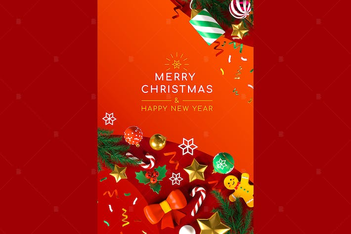 Thumbnail for Merry Christmas and Happy New Year - 3d poster
