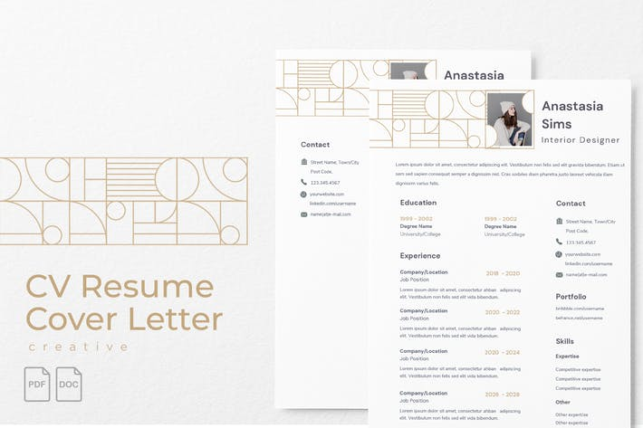 Thumbnail for Anastasia Sims - CV Resume Template