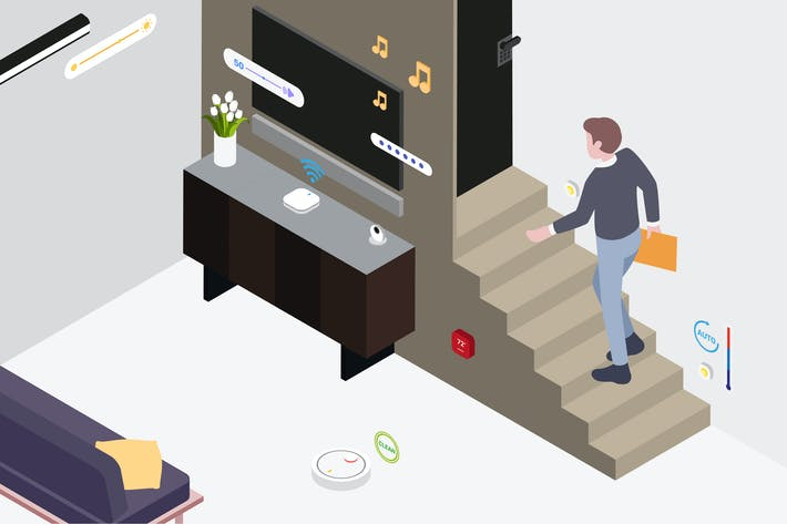 Thumbnail for Smart Home Living Room Isometric Illustration
