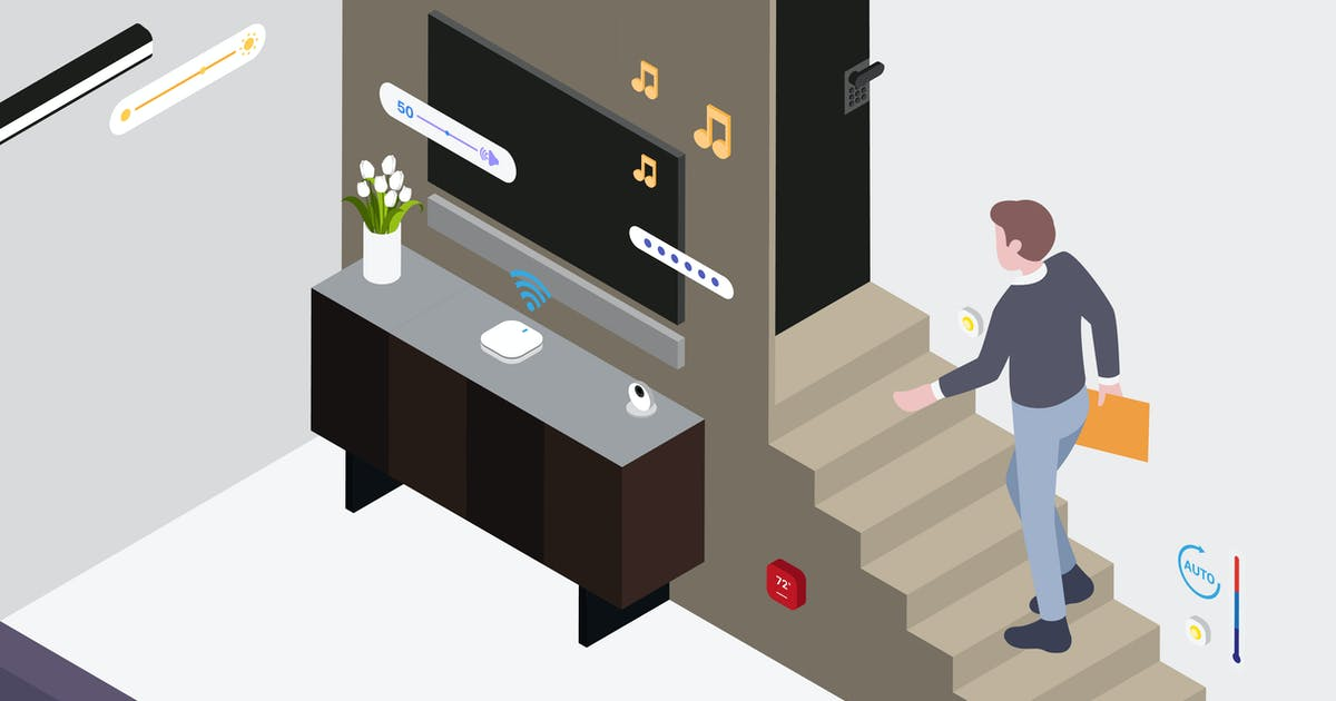 Download Smart Home Living Room Isometric Illustration by angelbi88