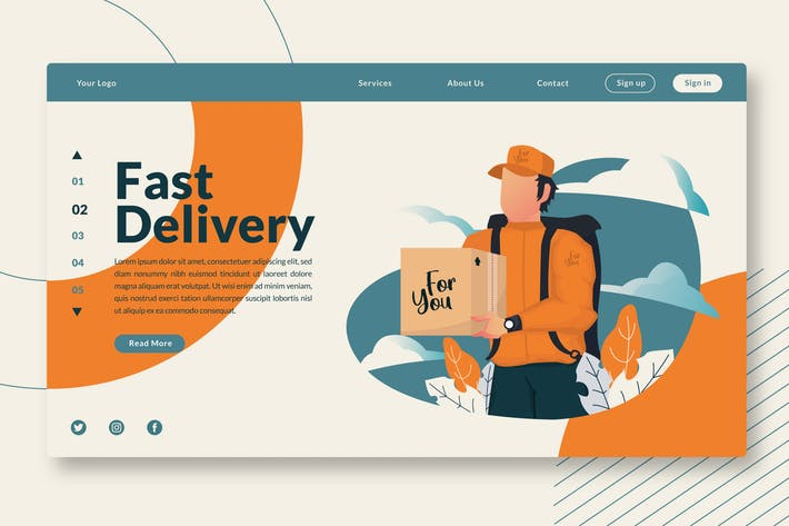 Thumbnail for Fast Delivery - Web Header & Landing Page GR