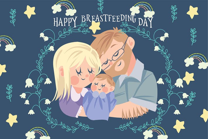 Thumbnail for Happy Breastfeeding - Vector Illustration