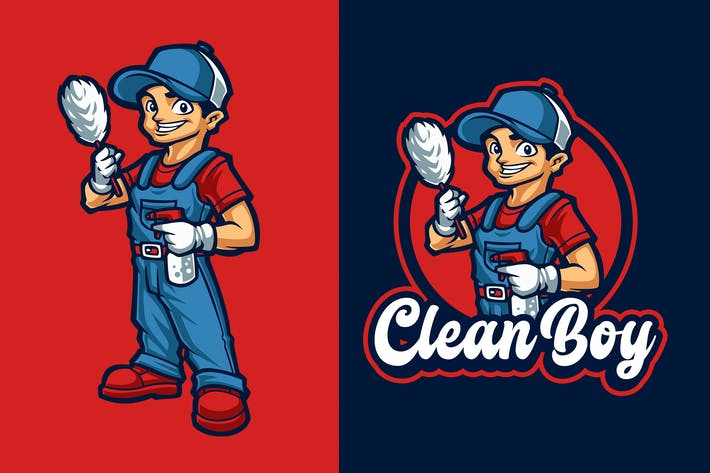Thumbnail for Clean Boy Mascot Character Logo Template