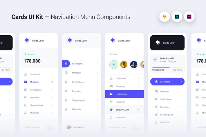 Thumbnail for Cards UI Kit - Navigation Menu Components Widgets