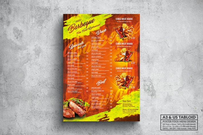 Thumbnail for BBQ & Grill Poster Food Menu - A3 & US Tabloid
