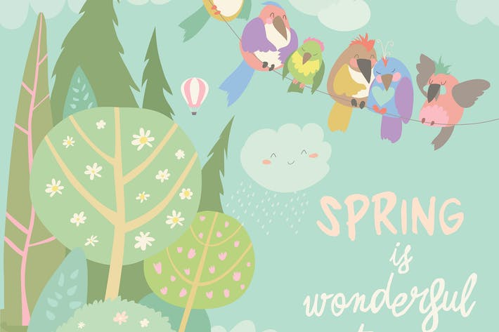 Thumbnail for Cute colorful birds and spring landscape. Vector
