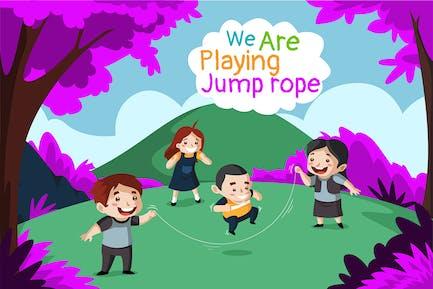 Springseil spielen - Illustration