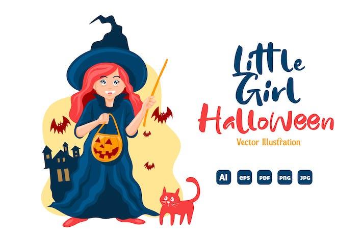 Thumbnail for Little Girl Halloween - vector illustration