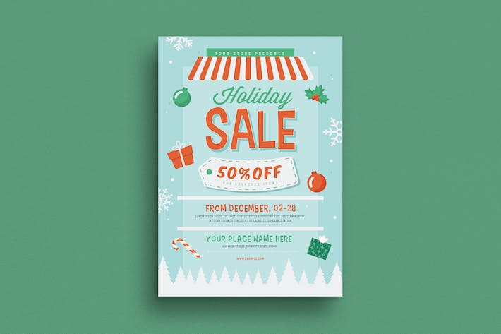Cover Image For Holiday Christmas Sale Flyer