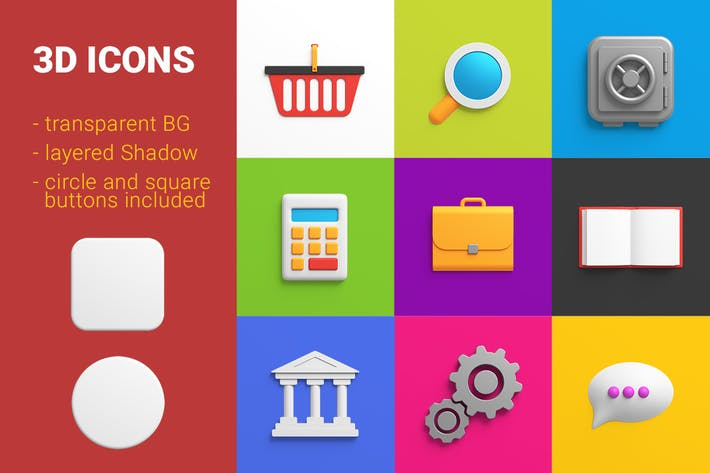 Thumbnail for icons pack 3D style Finance Universal Friendly