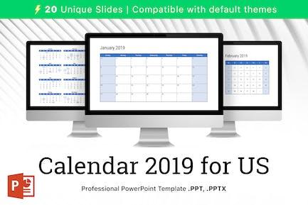 Calendar 2019 US for PowerPoint