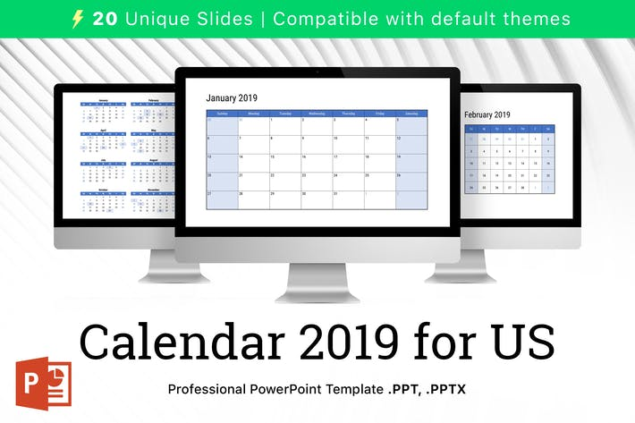 Thumbnail for Calendar 2019 US for PowerPoint