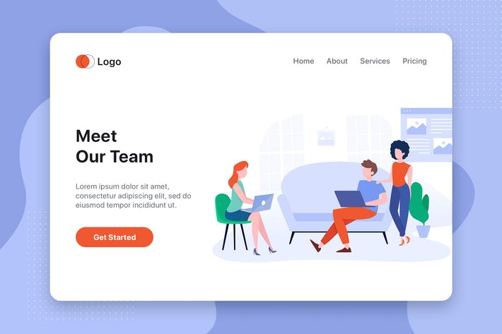 Thumbnail for Meet our team flat web template for Landing page
