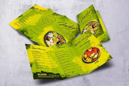 Indian Cuisine Trifold A4 & US Letter Food Menu