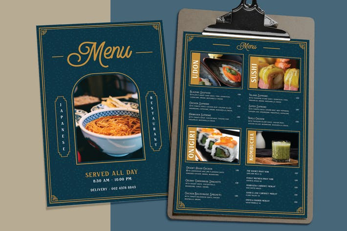 Thumbnail for Exclusive Classic Blue - Japanese Restaurant Menu