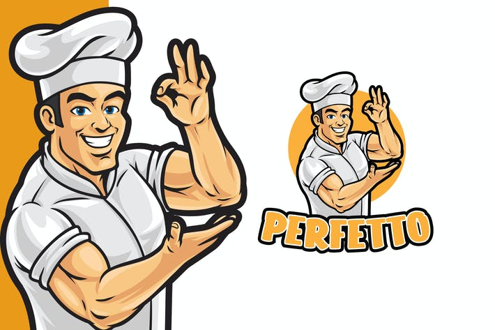 Thumbnail for Healthy Chef Logo Mascot Template