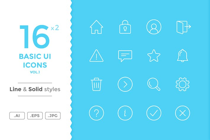 Thumbnail for Basic UI Icons (vol.1)