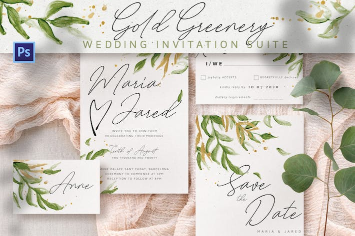 Thumbnail for Suite d'invitation de mariage Gold Greenery