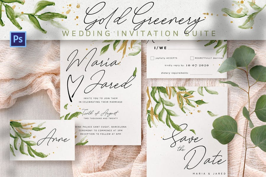 Gold Greenery Wedding Invitation Suite