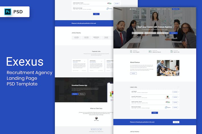 Thumbnail for Recruitment Agency - Landing Page PSD Template