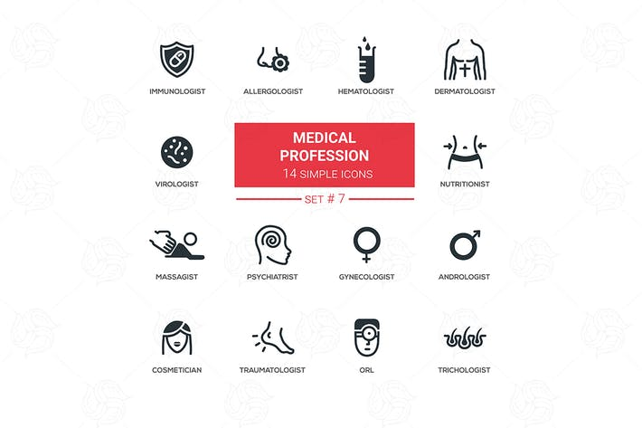 Thumbnail for Medical professions - simple thin line icons