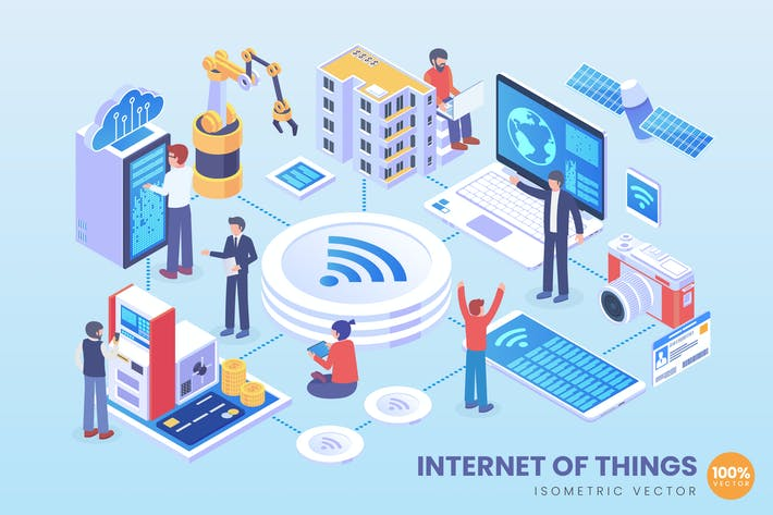 Thumbnail for Isometric Internet of Things Application Vector 2