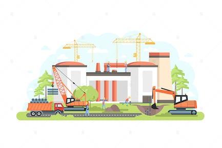 Industrial Complex under Construction Illustration