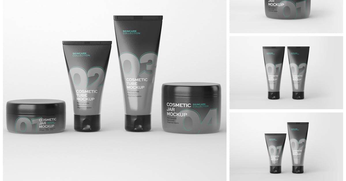 Download Cosmetics Mockup Set   Tube and Jar by deeplabstudio