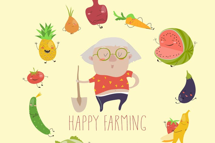 Thumbnail for Cute granny farmer with funny vegetables. Vector