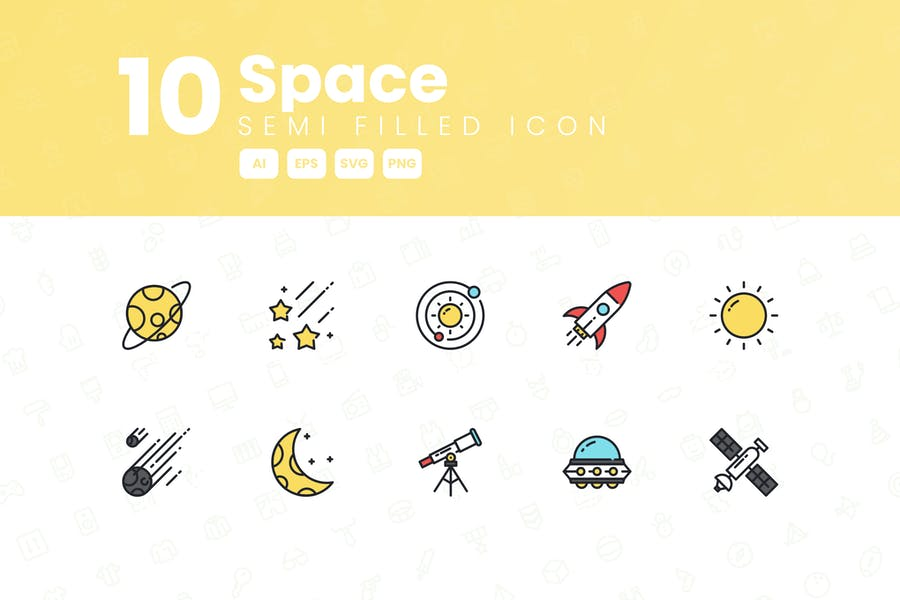 10 Space Semi Filled Icon Collection